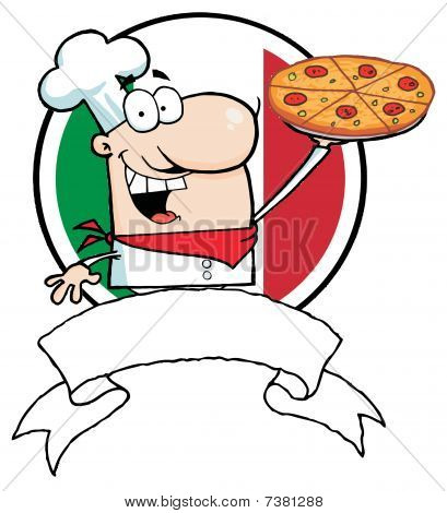 Male Chef Holding Up A Pizza Pie Over A Blank Banner And Round Italian Flag