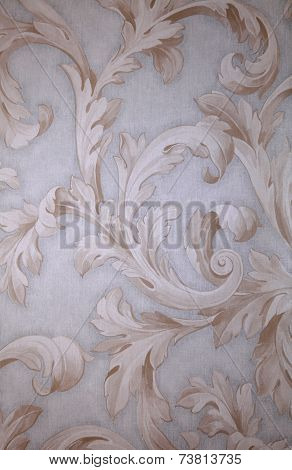 Vintage Grey Victorian Wallpaper With Beige Baroque Vignette
