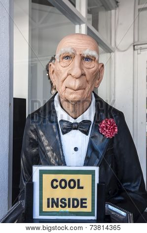 Butler With Cool Inside Sign