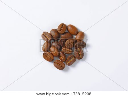 overhead view of roasted arabica coffee beans