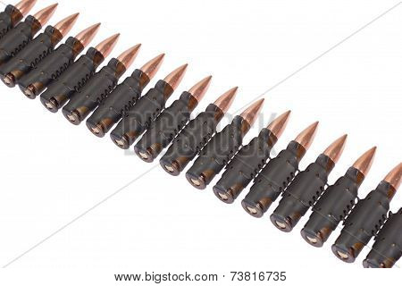 Ammunition Belt On White Background