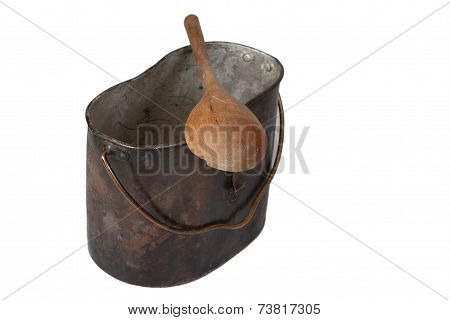 Ww1 Period Mess Kit And Wooden Spoon