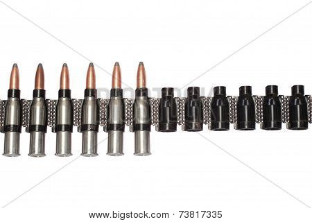 Chain Of Cartridges On White Background