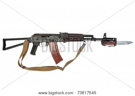 assault rifle with bayonet isolated on a white background