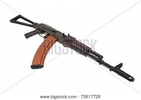 Airborne Assault Rifle Ak74 Isolated On A White Background