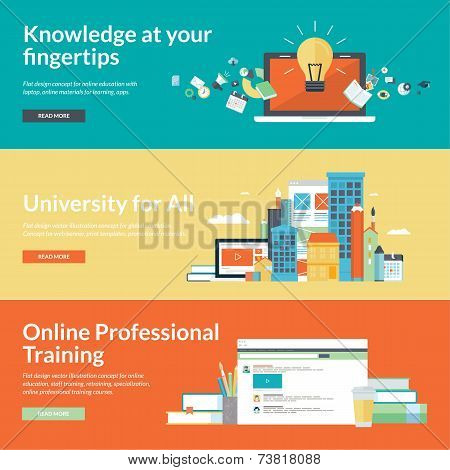 Flat design vector illustration concepts for online education,online professional training courses,
