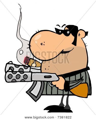 Gangster Man Holding Two Machine Guns And Smoking A Cigar