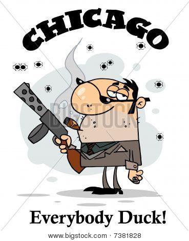Mobster trägt Waffe