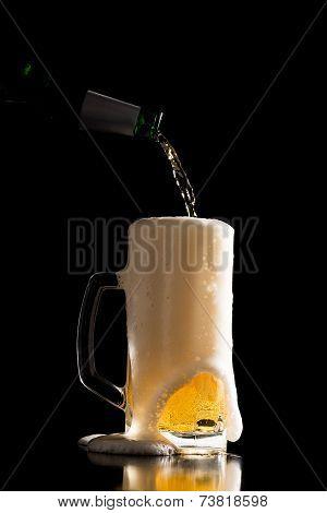 Overflowing Beer Glass