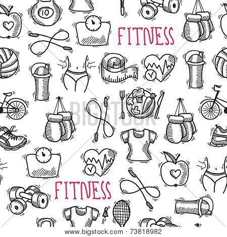 Fitness sketch black and white seamless pattern