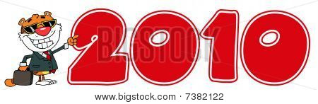 Cartoon Character Happy Tiger Pointing Red 2010 Year