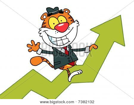 Cartoon Character Happy Tiger Riding On Success