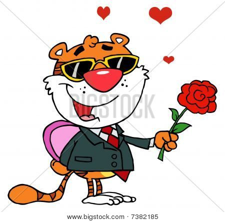 Cartoon Character Romantic Tiger with Rose and Gift
