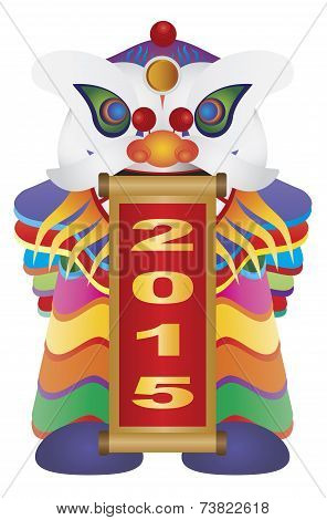 Chinese New Year Lion Dance With 2015 Scroll Illustration