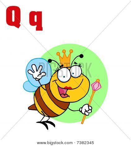 Bienenkönigin mit Buchstaben q