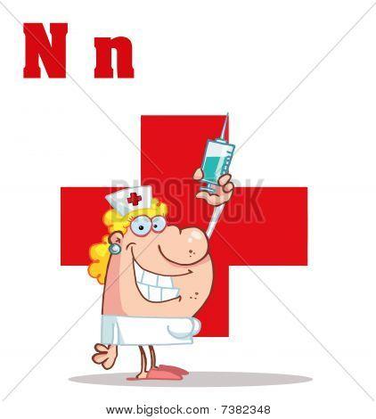 Krankenschwester mit Buchstaben n