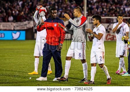 HARTFORD - OCTOBER 10:  US  players after match on US International Friendly match between US Men`s National Team vs Ecuador,  on October 10, 2014, in Rentschler Field stadium, Hartford, USA.