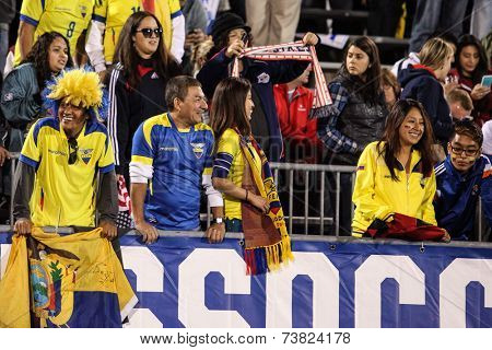 HARTFORD - OCTOBER 10: Ecuadorian fans on US Men`s International Friendly match between US Men`s National Team vs Ecuador, on October 10, 2014, in Rentschler Field stadium, Hartford, USA.