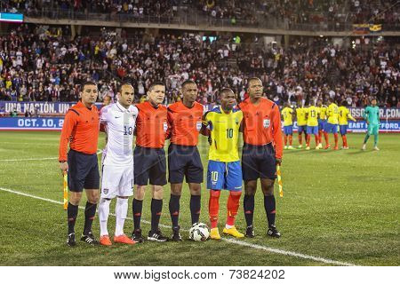 HARTFORD - OCTOBER 10: Landon Donovan with referees before the International Friendly match between US Men`s National Team vs Ecuador, on October 10, 2014, in Rentschler Field stadium, Hartford, USA.