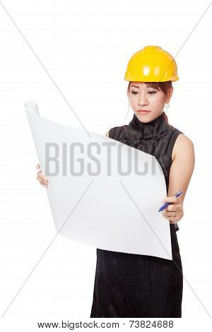 Asian Architect Girl Read A Blueprint Seriously