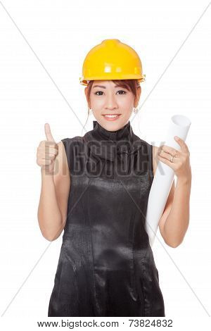 Asian Architect Girl Hold Plan Show Thumbs Up