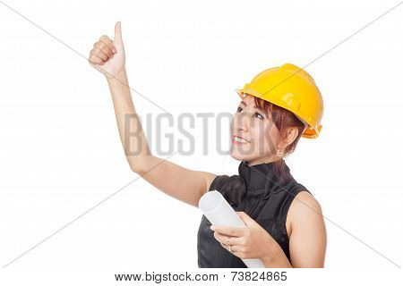 Asian Architect Girl Looking Up And  Show Thumbs Up