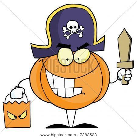 Cartoon character halloween pumkin bag and sword