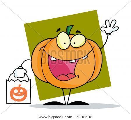 Cartoon character halloween happy pumkin bag