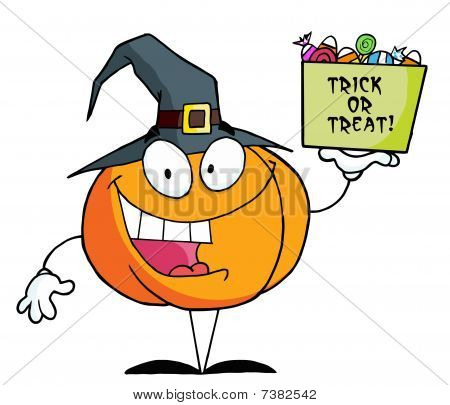 Cartoon character pumkin a bag of candy