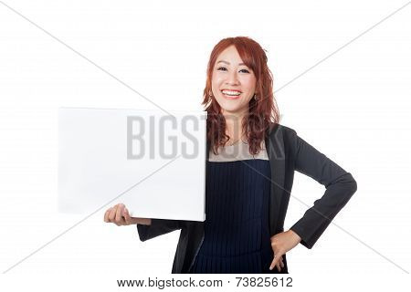 Asian Office Girl Stand With Arms Akimbo And A Blank Sign