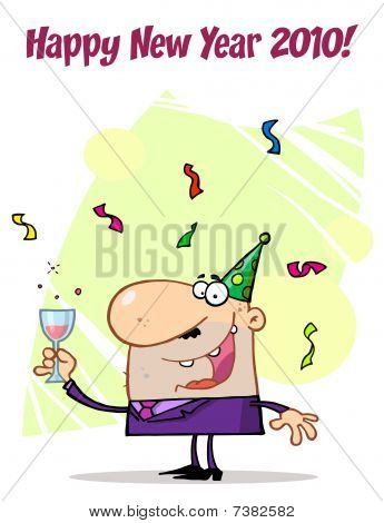 Happy New Year Greeting Of A Man Toasting At A Party