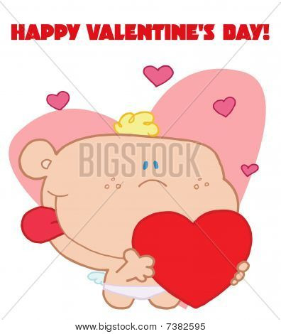 Romantic cupid with valentine hearts holding heart with happy valentine's day sign