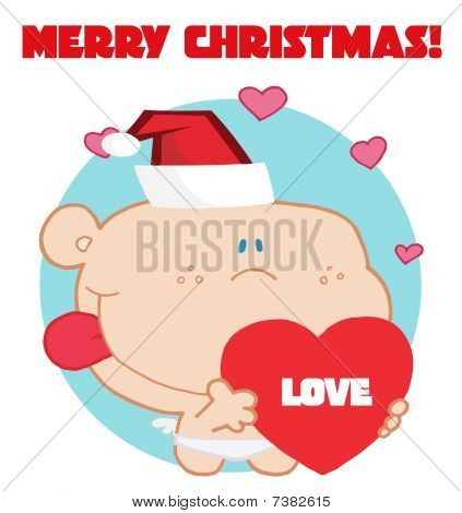 Romantic cupid with red love heart with merry christmas sign