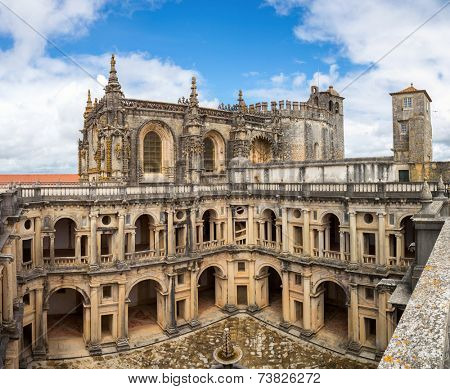 Panorama of Knights of the Templar Convents of Christ Tomar, Lisbon Portugal
