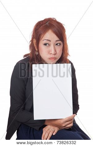 Asian Office Girl Is Fed Up Show A Blank Sign
