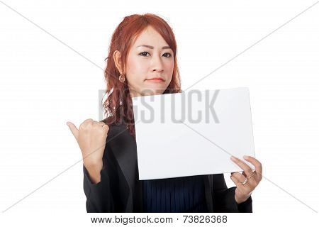 Asian Office Girl Is In Bad Mood Show A Blank Sign