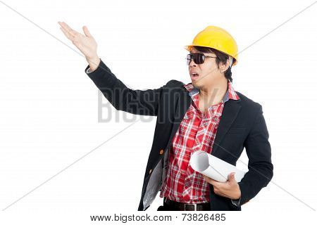 Asian Engineer Man Open His Palm Asking Someone