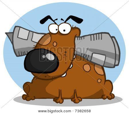 braune Hund hält Zeitung in Mund