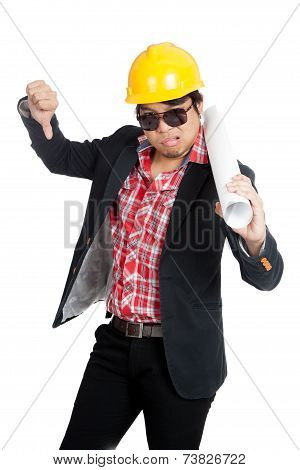 Asian Engineer Man In Bad Mood Show His  Thumb Down