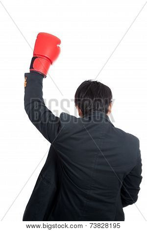 Back Of Asian Man Wear Boxing Glove Raise Hand Up