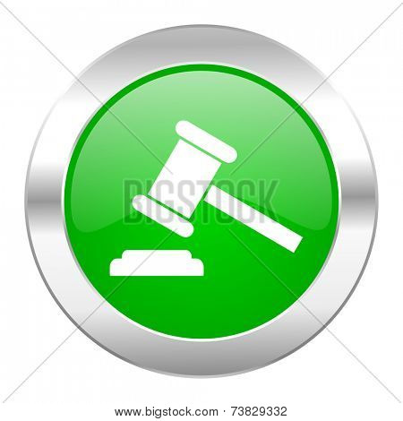 auction green circle chrome web icon isolated