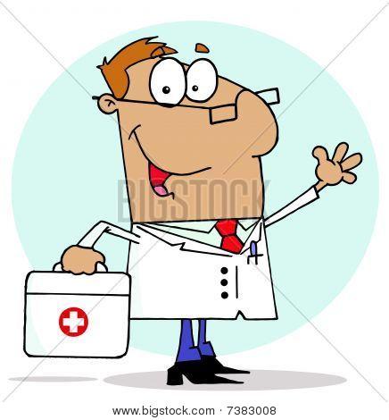 Tan Cartoon Arzt Mann seine erste-Hilfe-Tragetasche