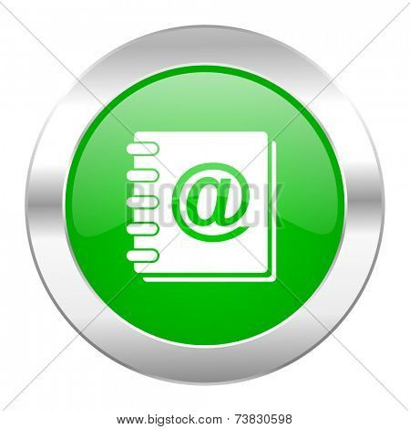 address book green circle chrome web icon isolated