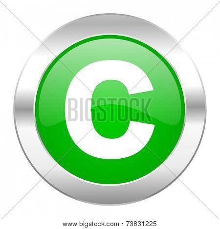 copyright green circle chrome web icon isolated