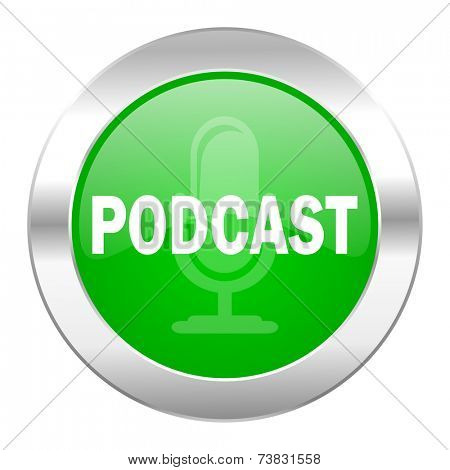 podcast green circle chrome web icon isolated
