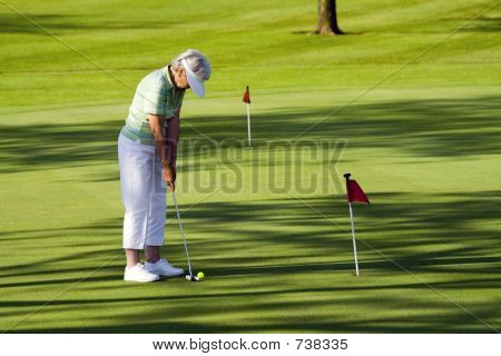 Grandma playing golf