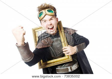 Funny pilot with picture frame isolated on white