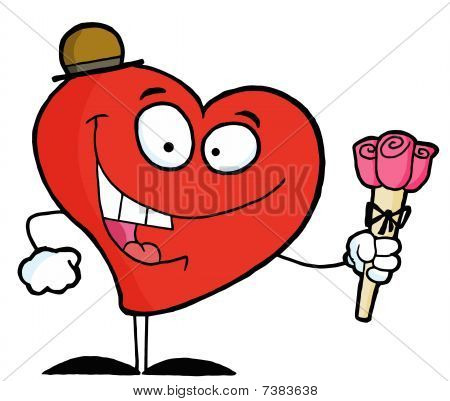 Happy Red Heart Man In A Hat, Holding Three Pink Roses