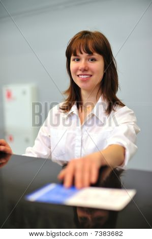 Girl At Check-in Counter