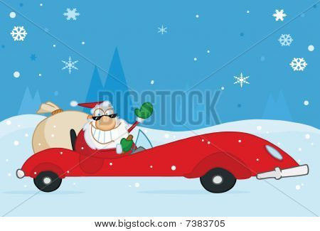 Jolly Christmas Santa Waving And Driving His Convertible Red Sports Car In The Snow